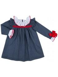 Girls Blue & White Polka Dot Dress