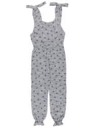 Girls Grey Heart Print Jersey Jumpsuit