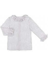 Girls White & Silver Striped Blouse with Ruffle Collar