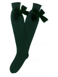 Dark Green Fine Knit Long Socks with Velvet Bow