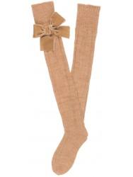 Girls Beige Ribbed Knit Long Socks & Velvet Bows