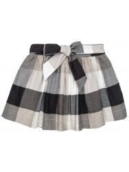 Girls Ivory & Black Checked Skirt