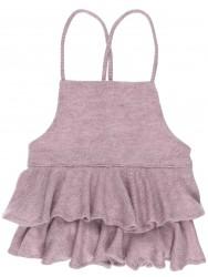Girls Dusky Pink Jersey Ruffle Dungaree Shorts