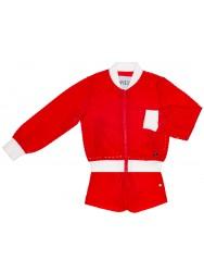 Girls Red Bomber Jacket & Shorts Set