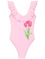 Girls Pink Tulip & Ruffle Swimsuit