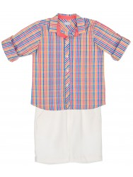 Boys Colourful Checked Shirt & White Shorts Set