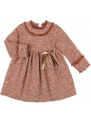 Girls Orange Tweed Dress & Golden Bow