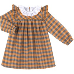 Girls Mustard & Grey with Ruffle Collar
