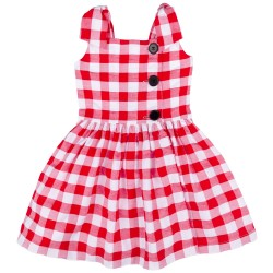 Girls Red & White Checked Dress