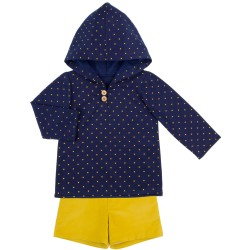 Boys Blue Sweatshirt & Mustard Shorts Set