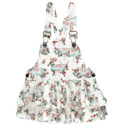 Girls Ballet Print Ruffle Dungaree Shorts
