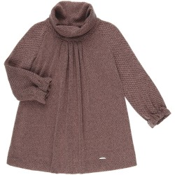 Girls Dusky Pink Knitted Dress with Roll Neck