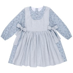 Girls Blue Liberty Print & Gingham Apron Dress