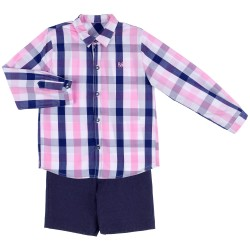 Boys Dark Blue Plaid Shirt & Linen Shorts Set