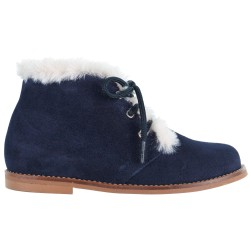 Blue Suede Boots & Ivory Synthetic Fur