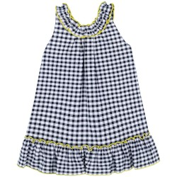 Girls Black Gingham Dress with Yellow Bows