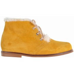 Mustard Boots & Ivory Synthetic Fur