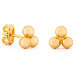 Golden Earrings with Three Small Balls