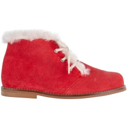 Red Suede Boots & Ivory Synthetic Fur