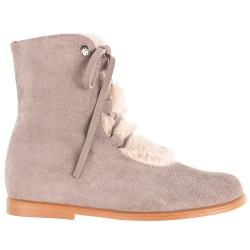 Girls Nuuk Grey Leather Boots with Synthetic Fur