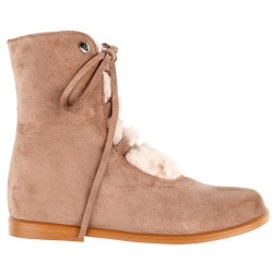 Girls Nuuk Beige Leather Boots with Synthetic Fur