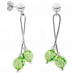 Silver Hanging Earrings with Green Swarovski Crystals