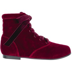 Girls Burgundy Velvet Boots with Pearls