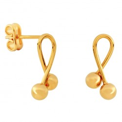 Gold Laced with Two Balls Earrings