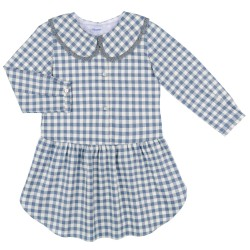 Girls Blue Gingham Dress with Peter Pan Collar