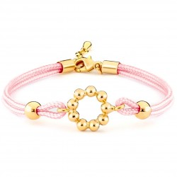 Girls Pink Silk Cord & Gold Plated Bracelet