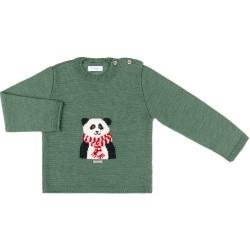 Unisex Blue Turquoise Panda Bear Knitted Sweater