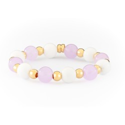 Girls Gold Plated & Elastic Bracelet with White Agates& & Purple Jades