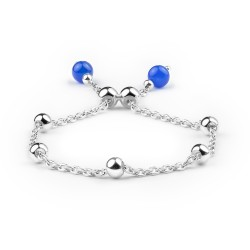 Girls Silver Plated Bracelet with Two Blue Agates