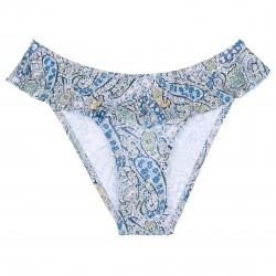 Girls Blue Paisley Print Ruffle Bikini Bottoms