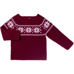 Burgundy & Ivory Knitted Fairlsey Sweater