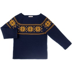Navy Blue & Mustard Knitted Fairlsey Sweater
