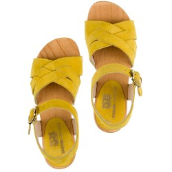 Girls Pale Yellow Suede & Wooden Clogs Sandals
