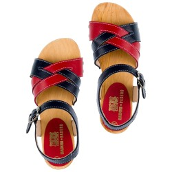 Girls Navy Blue & Red Skin & Wooden Clogs Sandals