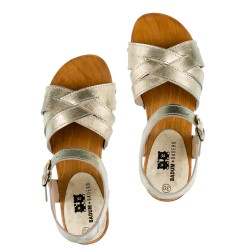 Girls Golden Leather & Wooden Clogs Sandals