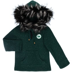 Green Jersey Sweatshirt with Synthetic Fur Hood