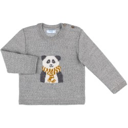 Unisex Gray Panda Bear Knitted Sweater