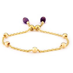 Woman Gold Plated Bracelet with Two Amethysts