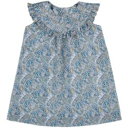 Girls Blue Paisley Print Dress & Ruffle Collar
