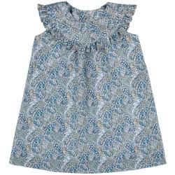 Girls Blue Paisley Print Dress & Ruffle Collar