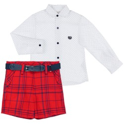 Boys White Polka Dot Shirt & Red Checked Short Set with Belt