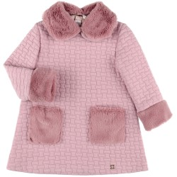 Girls Pale Pink Dress with Synthetic Fur