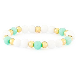 Girls Gold Plated & Elastic Bracelet with White Agates & Turquoise Jades