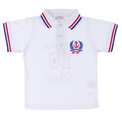 Boys White Knitted Polo Shirt