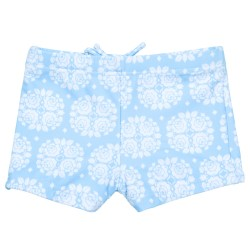 Baby Boys Light Blue Flower Print Swim Shorts