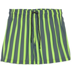Boys Gray & Yellow Fluor Striped Swim Shorts